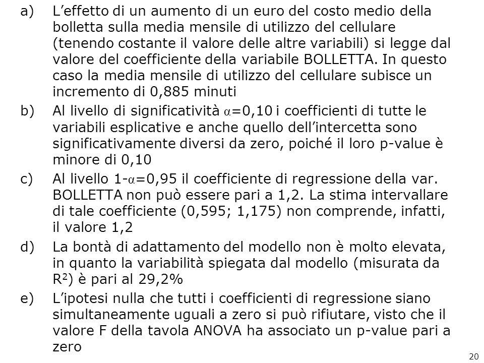 L'effetto di un aumento di un euro del costo medio della bolletta sulla media mensile di utilizzo del cellulare (tenendo costante il valore delle altre variabili) si legge dal valore del coefficiente della variabile BOLLETTA. In questo caso la media mensile di utilizzo del cellulare subisce un incremento di 0,885 minuti