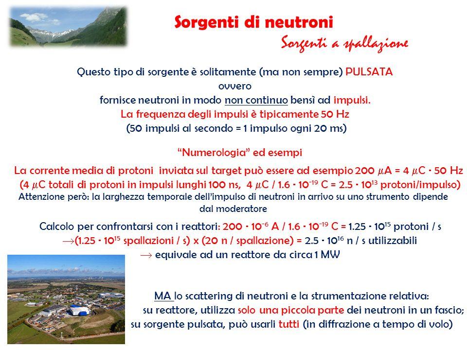 Sorgenti di neutroni Sorgenti a spallazione