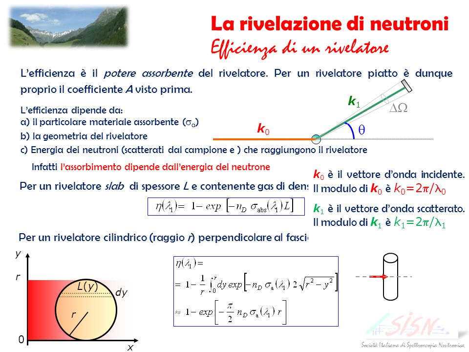 La rivelazione di neutroni Efficienza di un rivelatore
