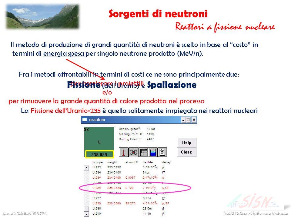 Sorgenti di neutroni Reattori a fissione nucleare