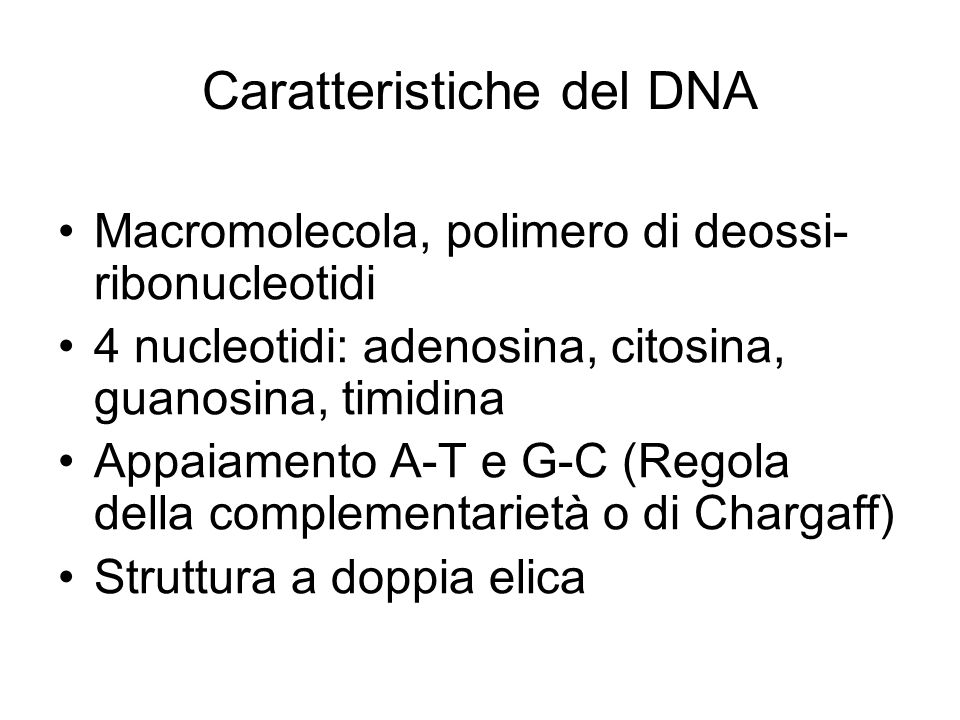 Caratteristiche del DNA