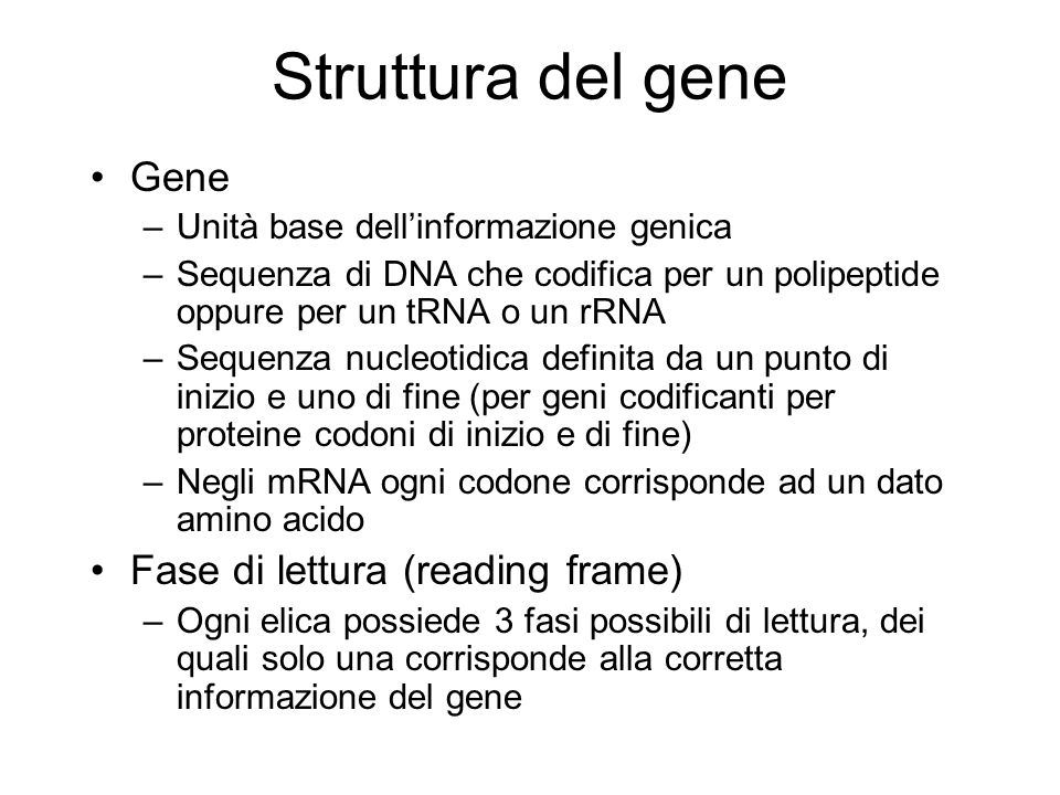 Struttura del gene Gene Fase di lettura (reading frame)