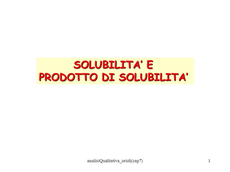 PRODOTTO DI SOLUBILITA'