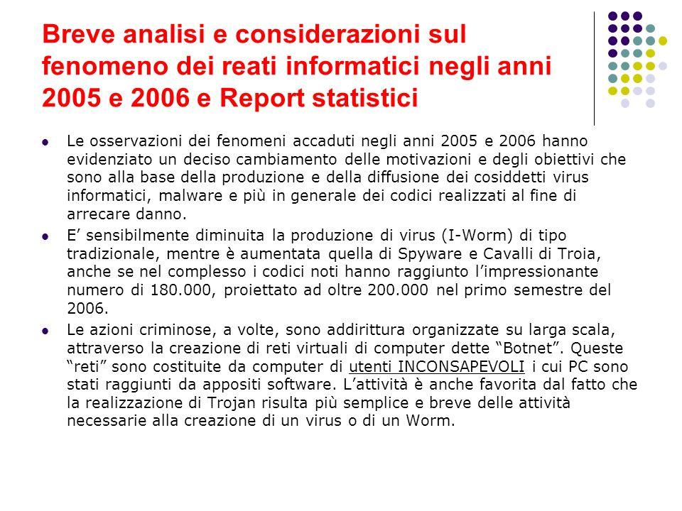 Breve analisi e considerazioni sul fenomeno dei reati informatici negli anni 2005 e 2006 e Report statistici