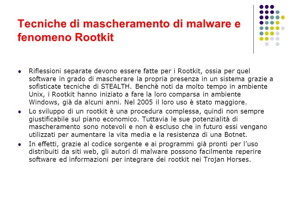 Tecniche di mascheramento di malware e fenomeno Rootkit