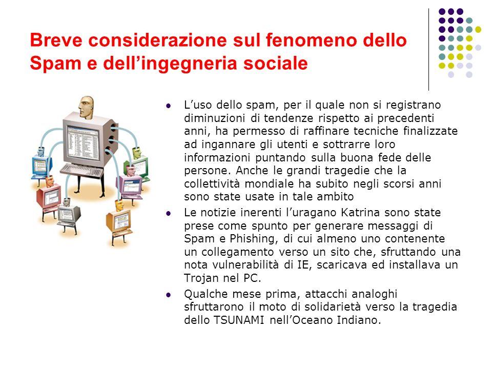 Breve considerazione sul fenomeno dello Spam e dell'ingegneria sociale