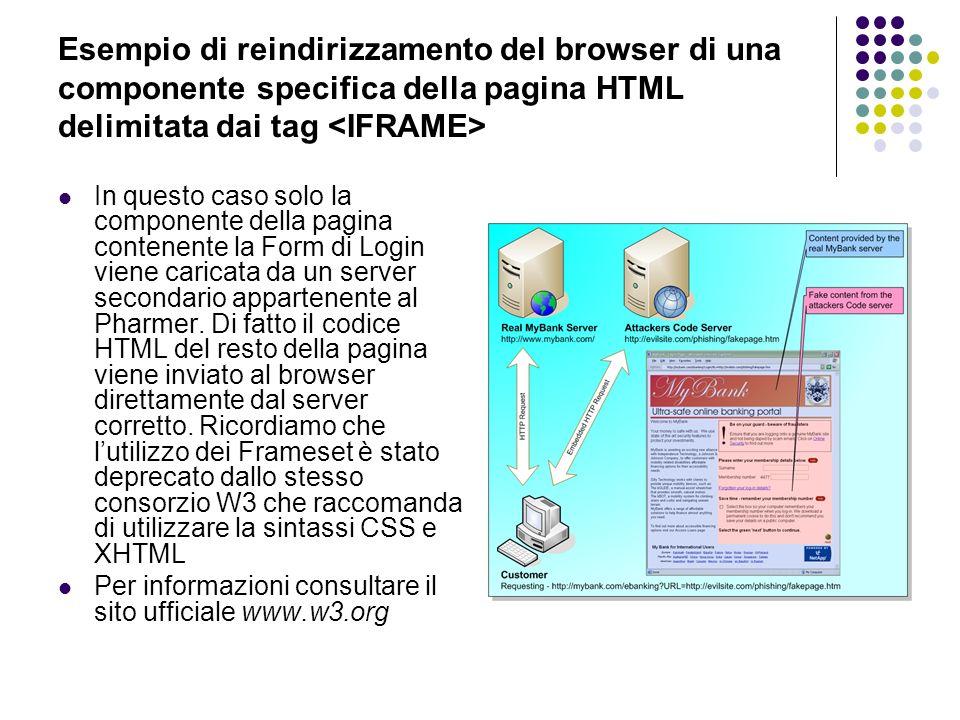 Esempio di reindirizzamento del browser di una componente specifica della pagina HTML delimitata dai tag <IFRAME>