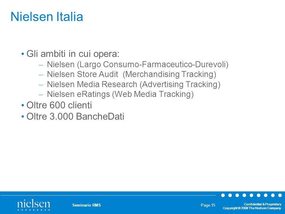 Nielsen Italia Gli ambiti in cui opera: Oltre 600 clienti