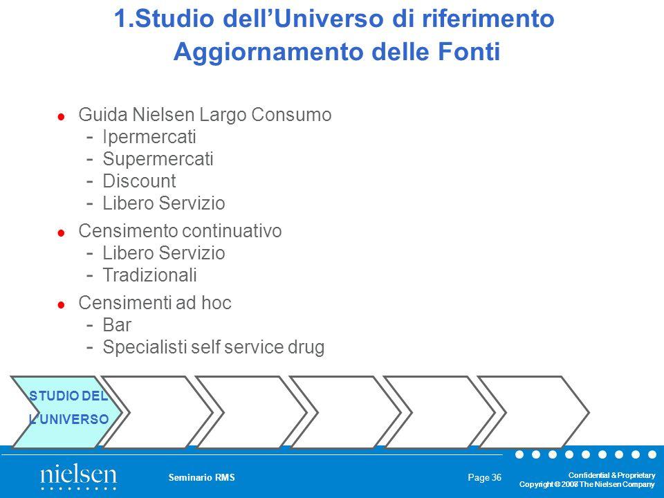 1.Studio dell'Universo di riferimento Aggiornamento delle Fonti