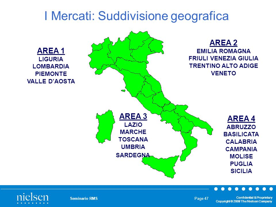 I Mercati: Suddivisione geografica