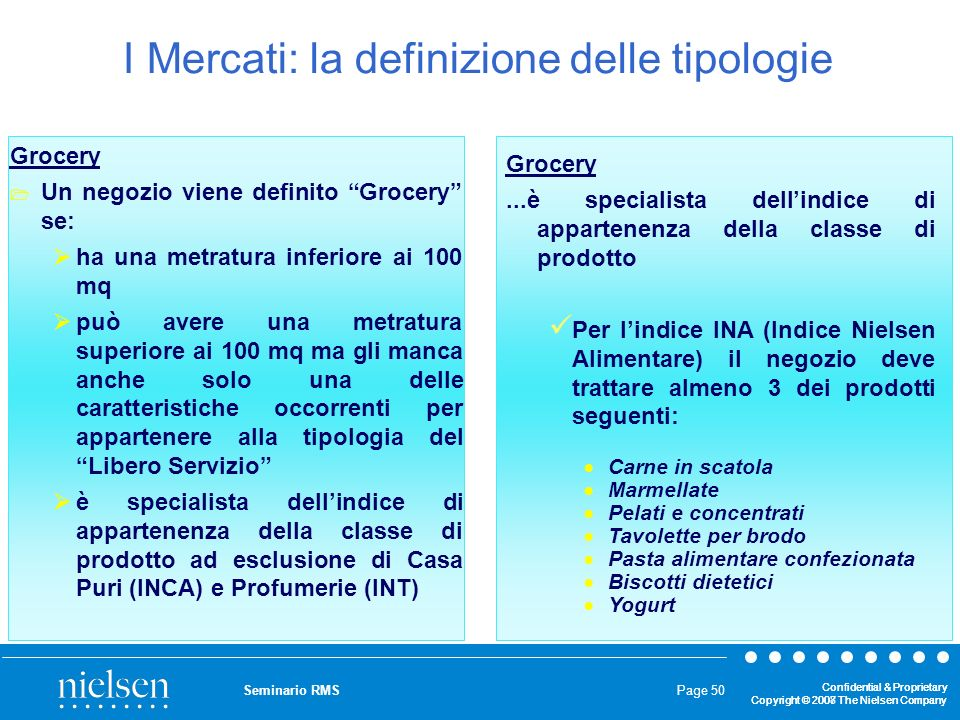I Mercati: la definizione delle tipologie