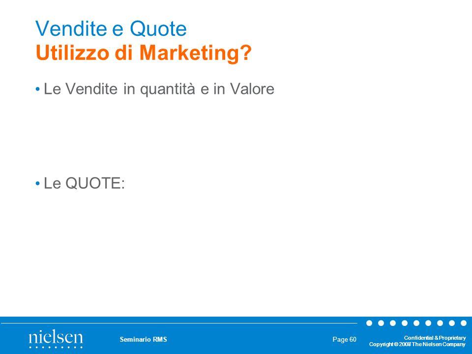 Vendite e Quote Utilizzo di Marketing