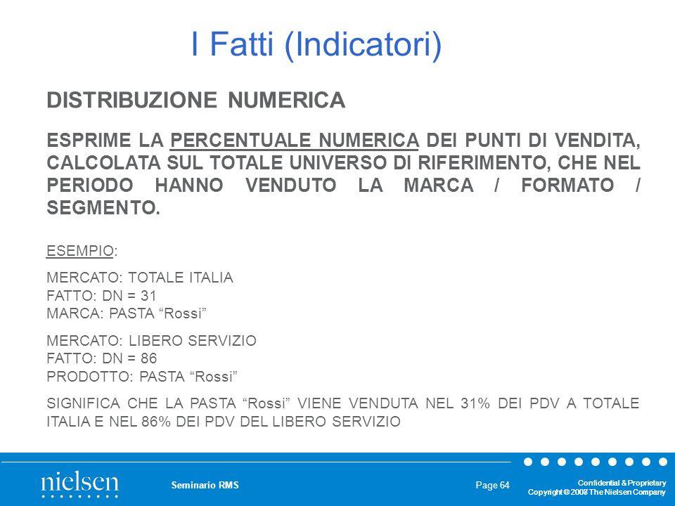 I Fatti (Indicatori) DISTRIBUZIONE NUMERICA