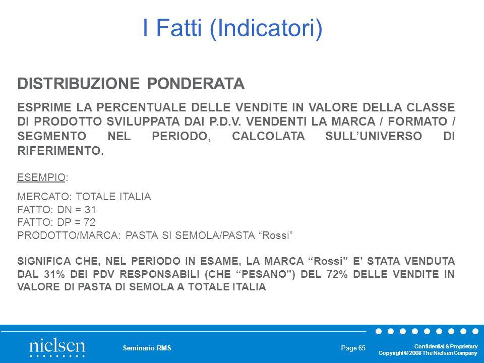 I Fatti (Indicatori) DISTRIBUZIONE PONDERATA
