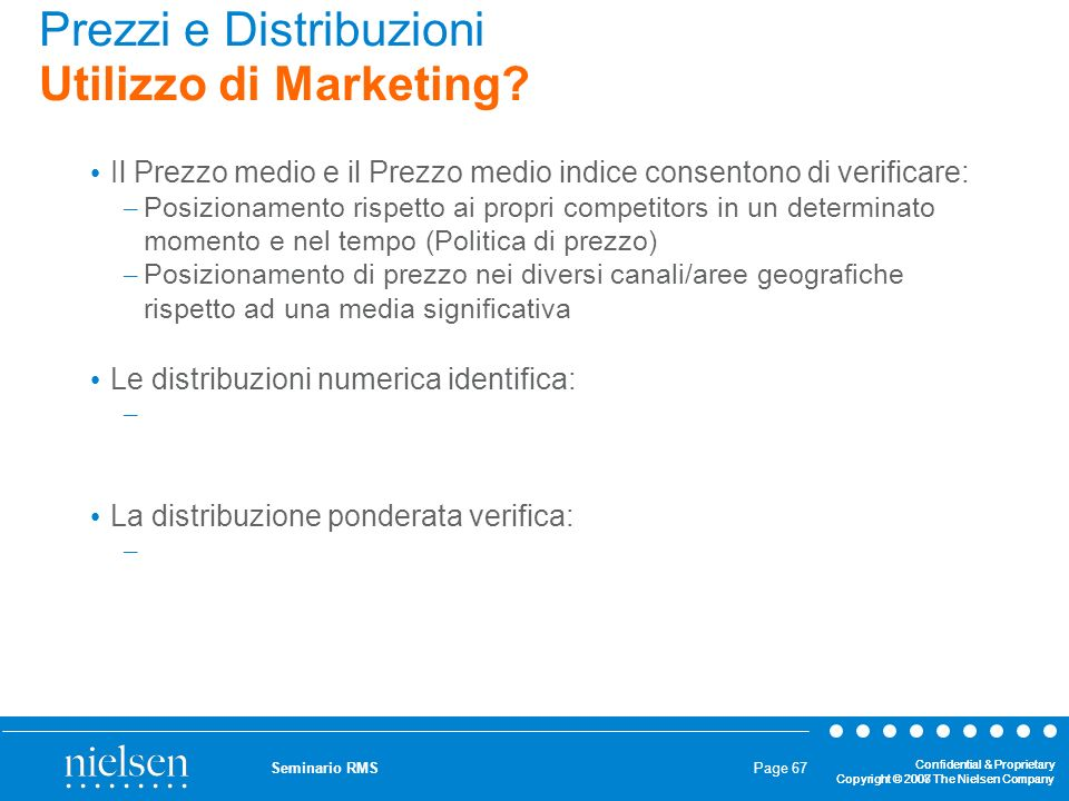 Prezzi e Distribuzioni Utilizzo di Marketing