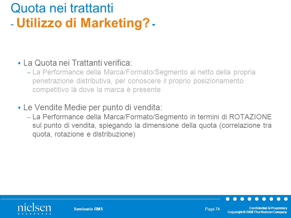 Quota nei trattanti - Utilizzo di Marketing -