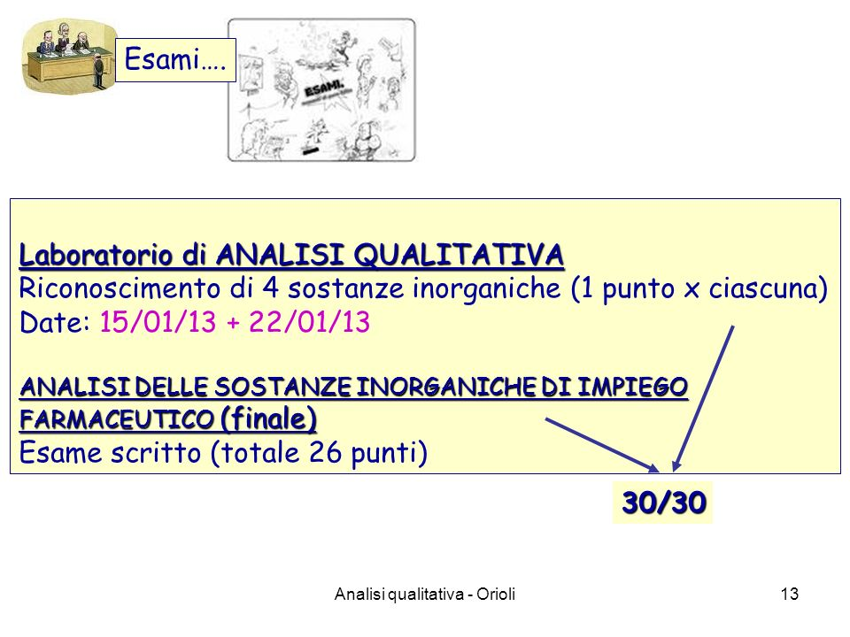 Analisi qualitativa - Orioli