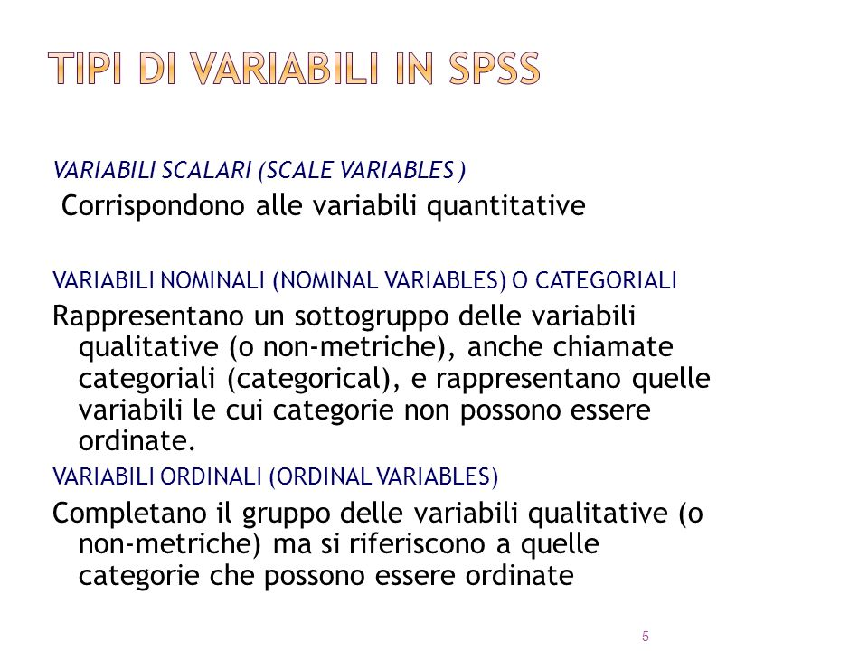 Tipi di variabili in SPSS