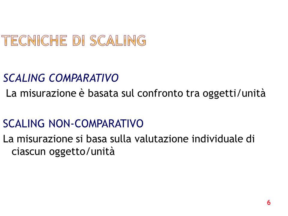 Tecniche di scaling SCALING COMPARATIVO SCALING NON-COMPARATIVO