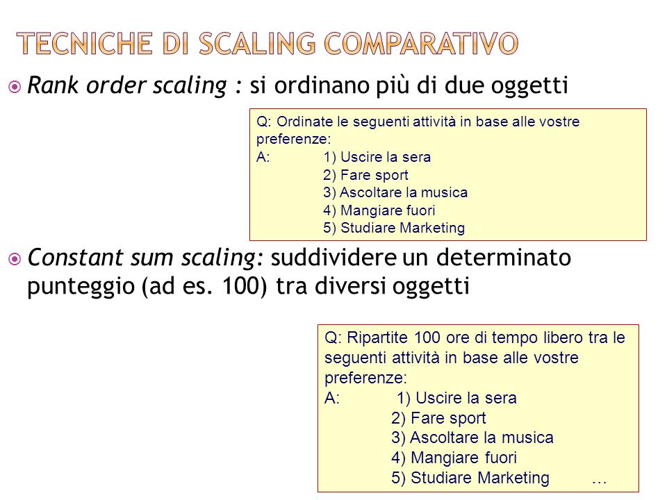 Tecniche di scaling comparativo