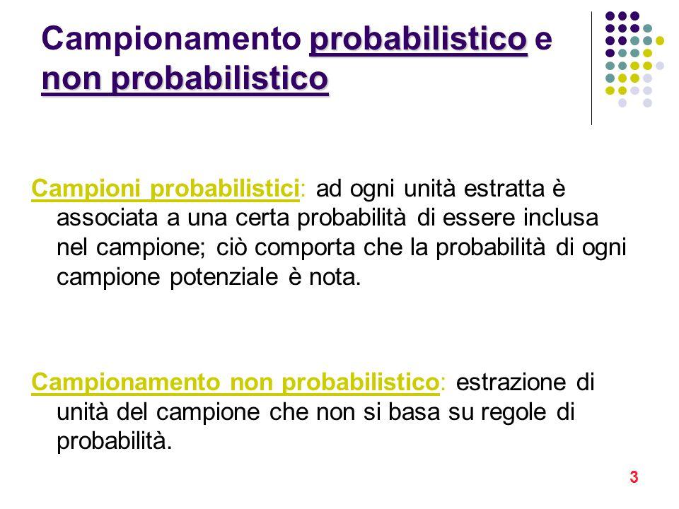 Campionamento probabilistico e non probabilistico