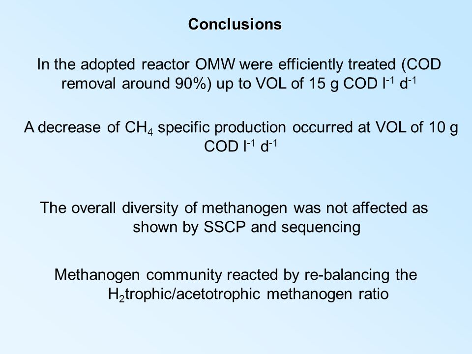 Conclusions In the adopted reactor OMW were efficiently treated (COD removal around 90%) up to VOL of 15 g COD l-1 d-1.