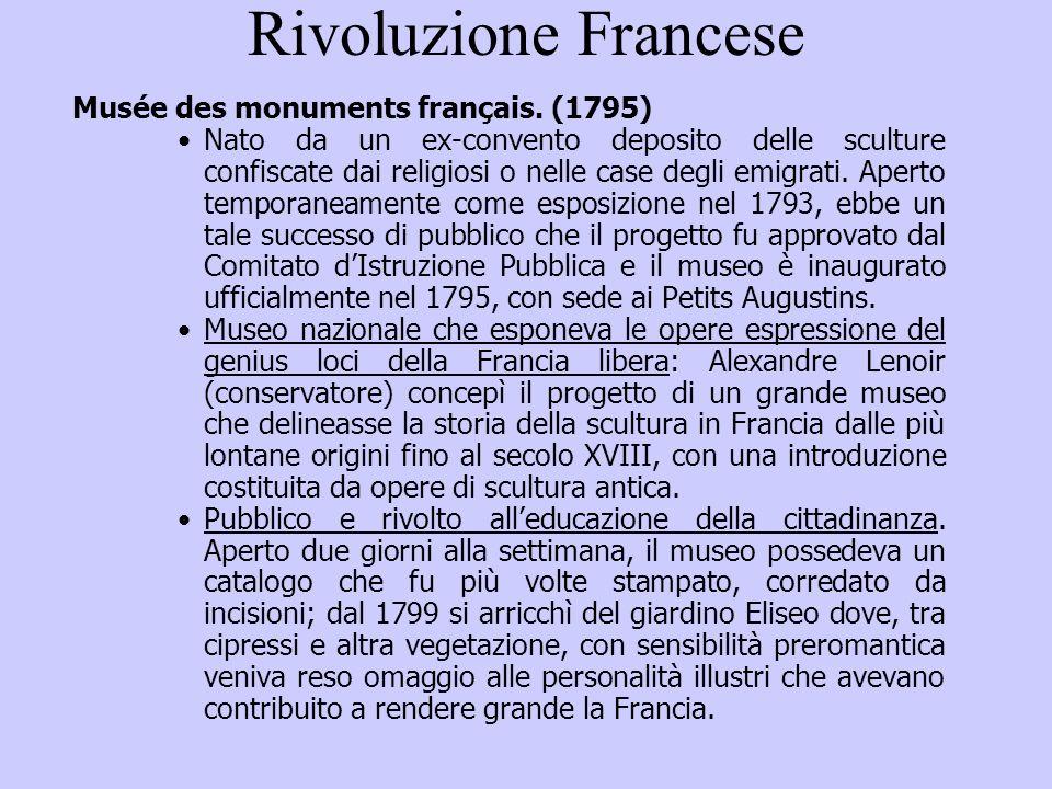 Rivoluzione Francese Musée des monuments français. (1795)