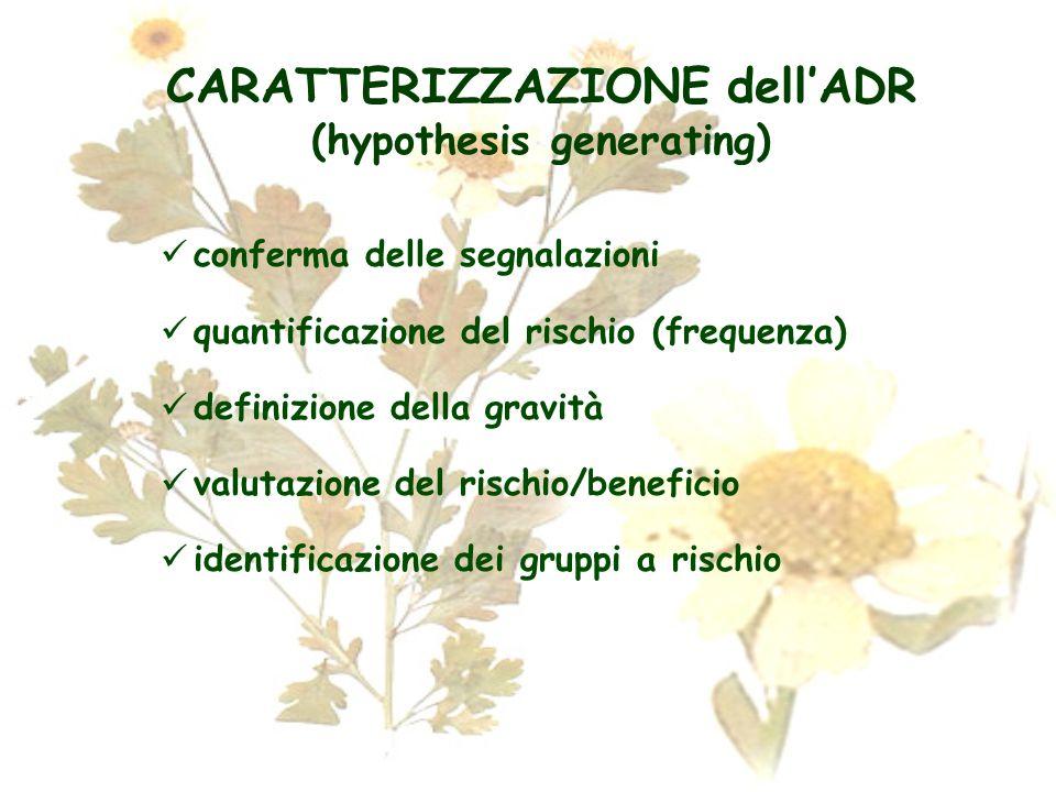 CARATTERIZZAZIONE dell'ADR (hypothesis generating)
