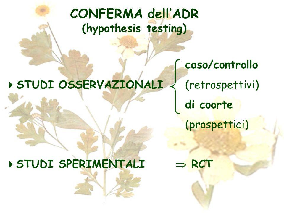 CONFERMA dell'ADR (hypothesis testing) caso/controllo