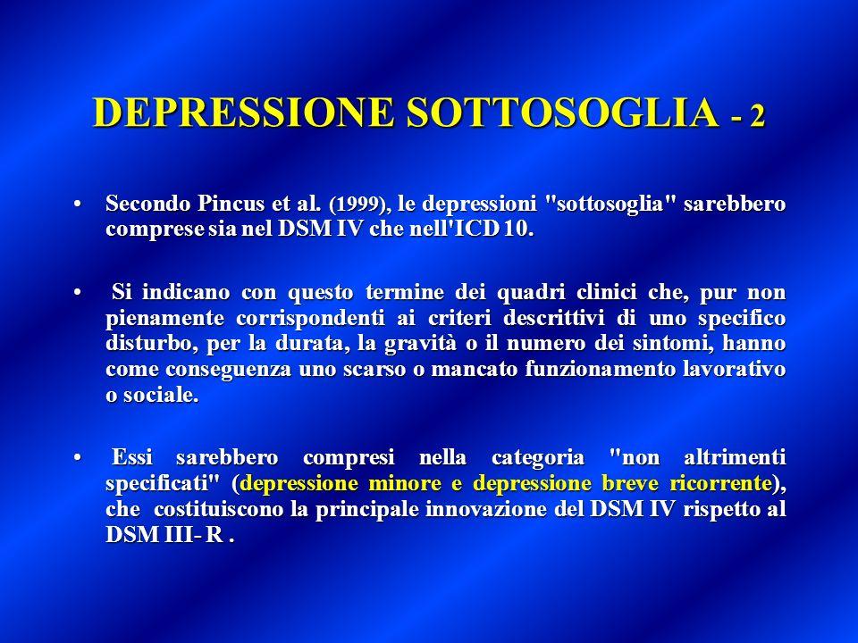 DEPRESSIONE SOTTOSOGLIA - 2