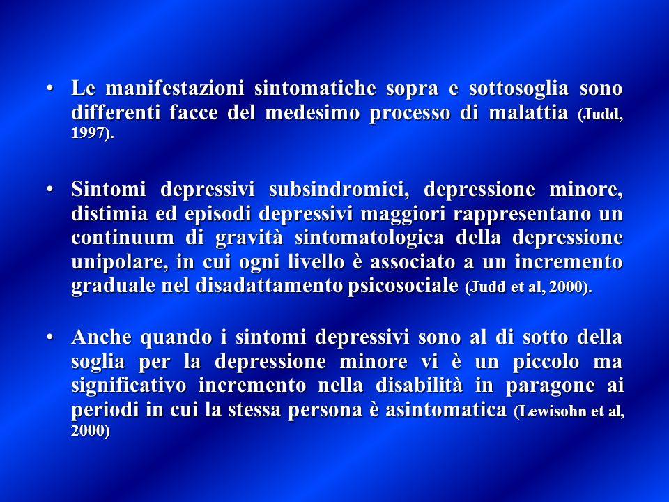 Le manifestazioni sintomatiche sopra e sottosoglia sono differenti facce del medesimo processo di malattia (Judd, 1997).