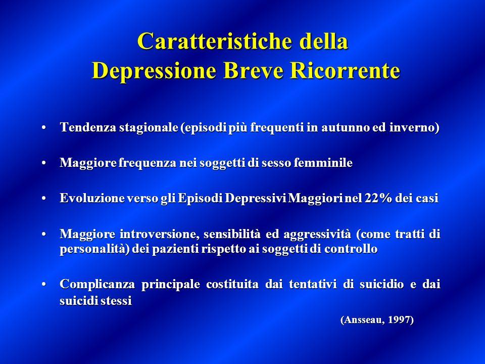 Caratteristiche della Depressione Breve Ricorrente