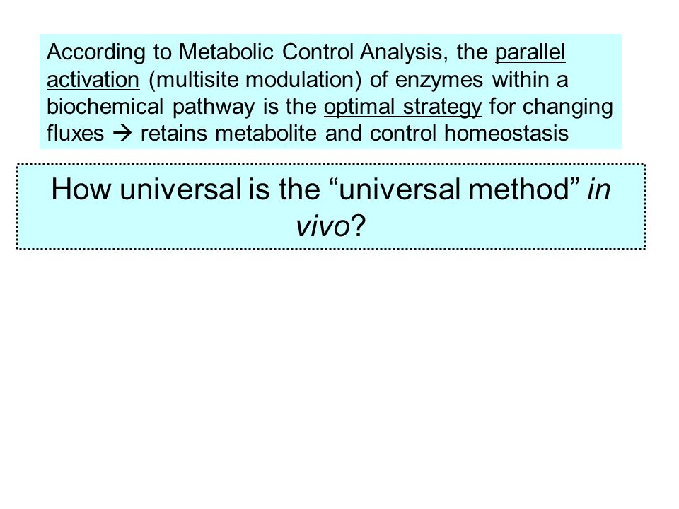 How universal is the universal method in vivo