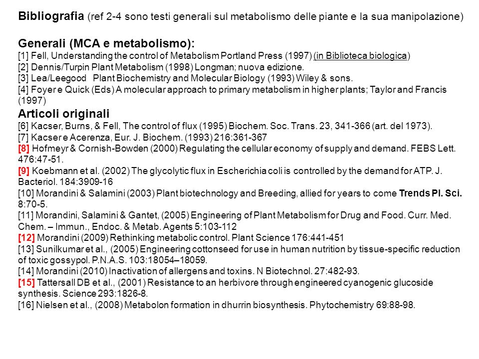 Generali (MCA e metabolismo):