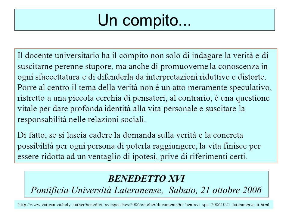Pontificia Università Lateranense, Sabato, 21 ottobre 2006