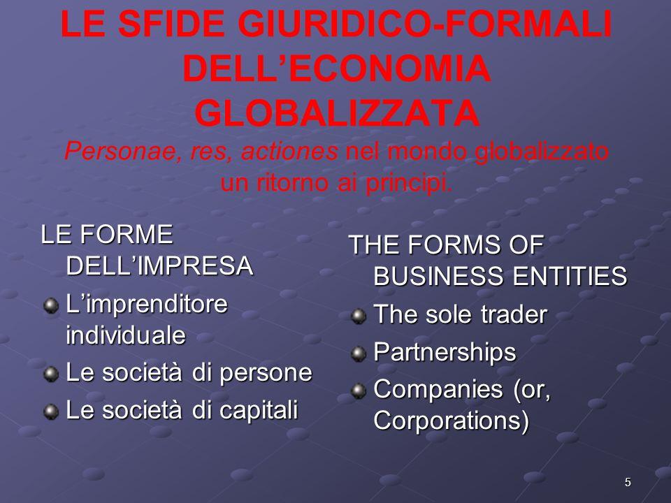 LE SFIDE GIURIDICO-FORMALI DELL'ECONOMIA GLOBALIZZATA Personae, res, actiones nel mondo globalizzato un ritorno ai principi.