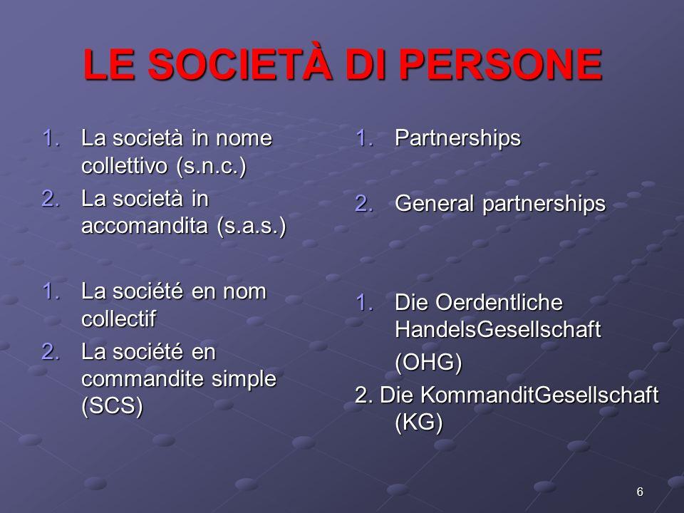 LE SOCIETÀ DI PERSONE La società in nome collettivo (s.n.c.)