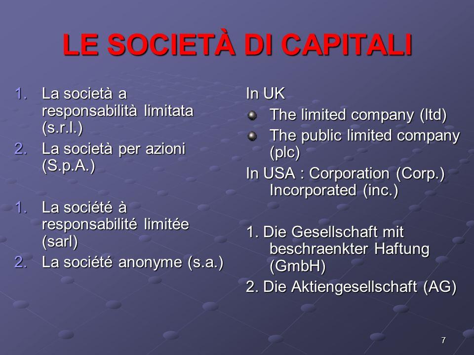 LE SOCIETÀ DI CAPITALI La società a responsabilità limitata (s.r.l.)