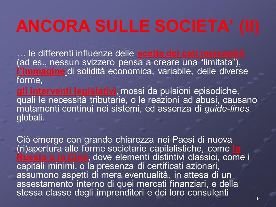 ANCORA SULLE SOCIETA' (II)