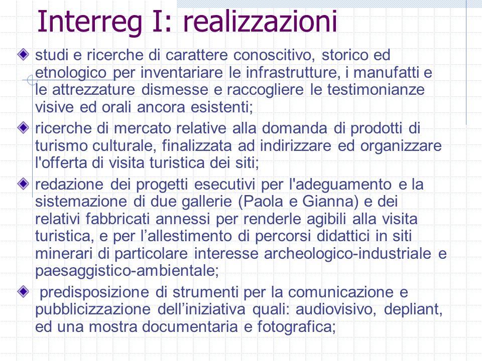 Interreg I: realizzazioni
