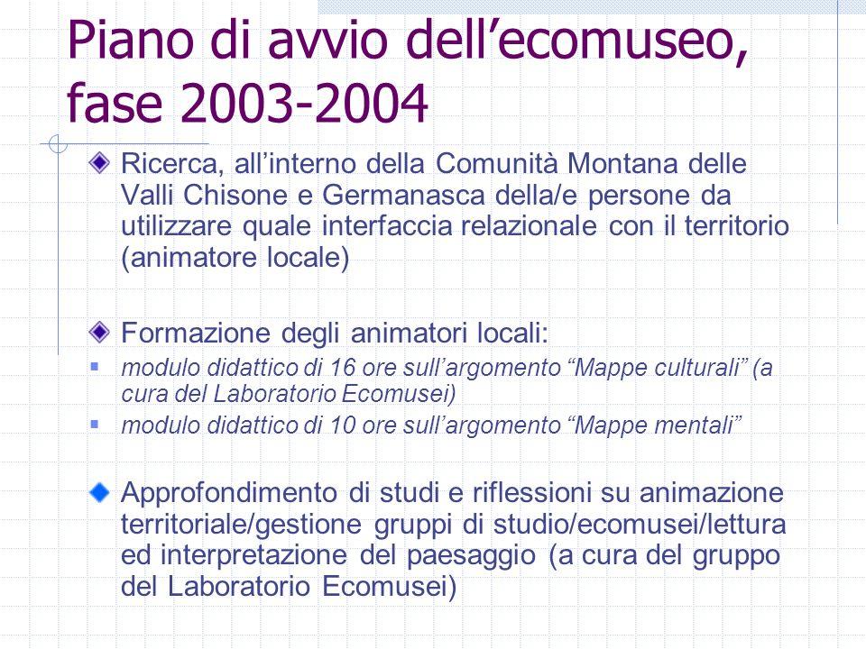 Piano di avvio dell'ecomuseo, fase 2003-2004