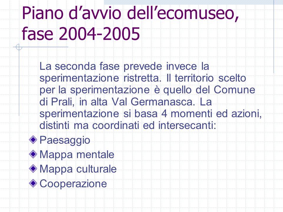 Piano d'avvio dell'ecomuseo, fase 2004-2005
