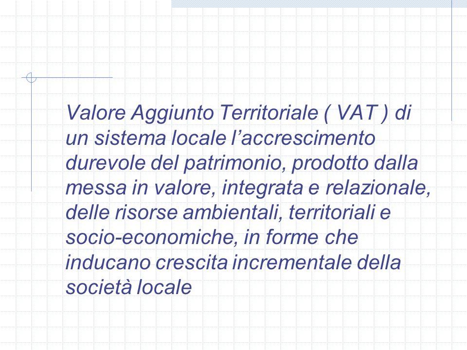 Valore Aggiunto Territoriale ( VAT ) di un sistema locale l'accrescimento durevole del patrimonio, prodotto dalla messa in valore, integrata e relazionale, delle risorse ambientali, territoriali e socio-economiche, in forme che inducano crescita incrementale della società locale