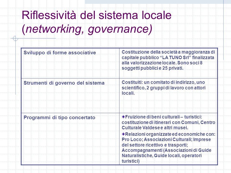 Riflessività del sistema locale (networking, governance)