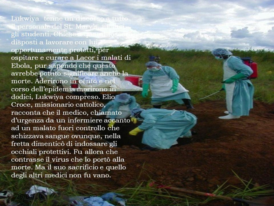 Lukwiya tenne un discorso a tutto il personale del St