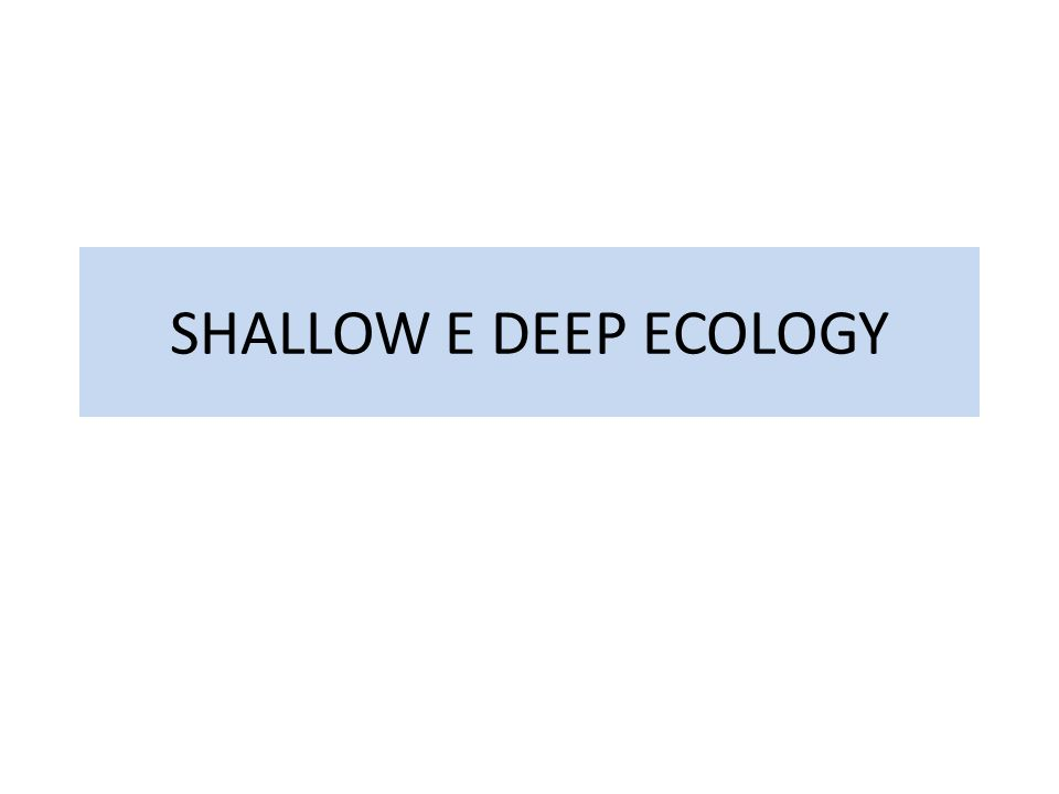 SHALLOW E DEEP ECOLOGY