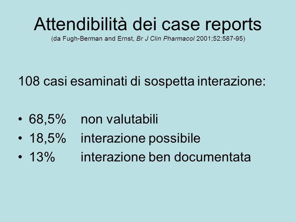 Attendibilità dei case reports (da Fugh-Berman and Ernst, Br J Clin Pharmacol 2001;52:587-95)