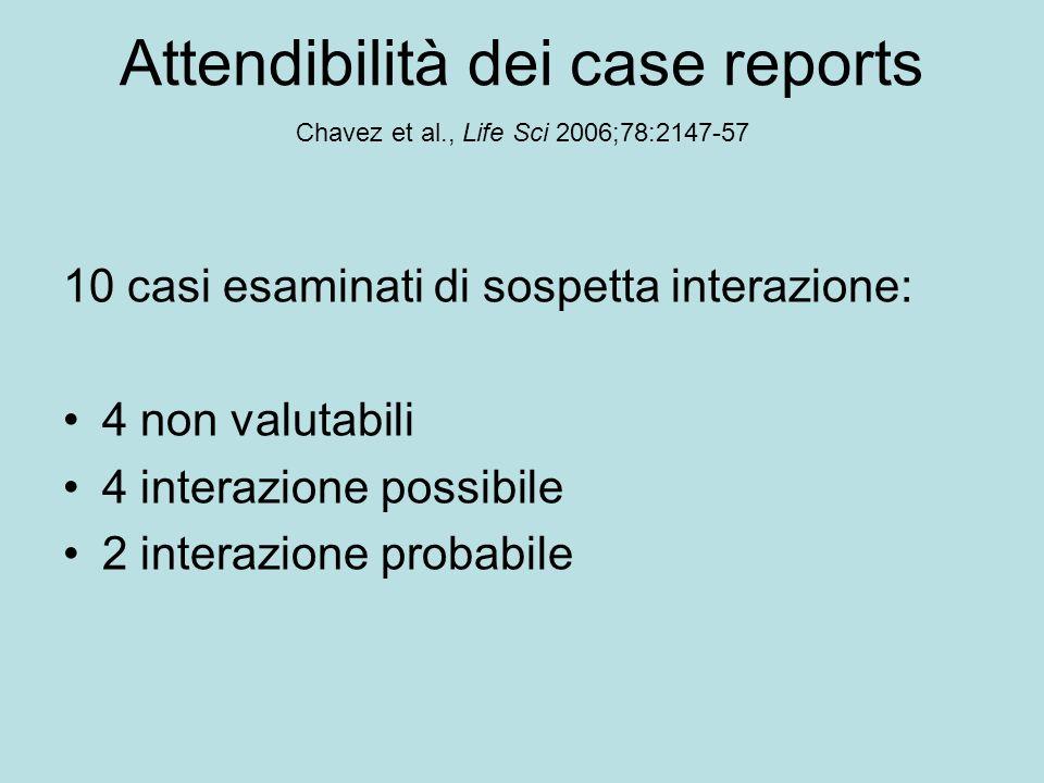 Attendibilità dei case reports Chavez et al., Life Sci 2006;78:2147-57