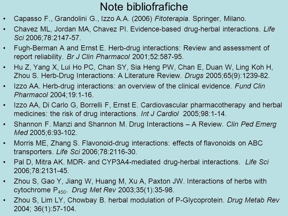 Note bibliofrafiche Capasso F., Grandolini G., Izzo A.A. (2006) Fitoterapia. Springer, Milano.