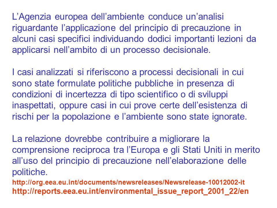 L'Agenzia europea dell'ambiente conduce un'analisi riguardante l'applicazione del principio di precauzione in alcuni casi specifici individuando dodici importanti lezioni da applicarsi nell'ambito di un processo decisionale.
